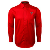 Red Twill Button Down Long Sleeve-Hornet Bevel L