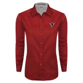 Ladies Red Twill Button Down Long Sleeve-Hornet Bevel L