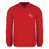 V Neck Red Raglan Windshirt-Hornet