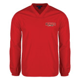 V Neck Red Raglan Windshirt-Lynchburg Hornets