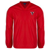 V Neck Red Raglan Windshirt-Hornet Bevel L