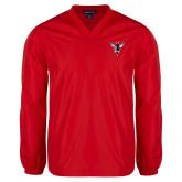 V Neck Red Raglan Windshirt-Hornet Bevel L