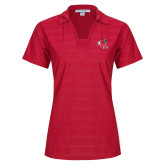 Ladies Red Horizontal Textured Polo-Hornet