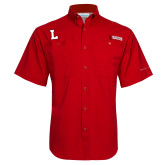 Columbia Tamiami Performance Red Short Sleeve Shirt-L Mark