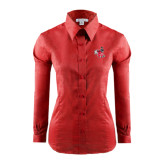 Ladies Red House Red Long Sleeve Shirt-Hornet