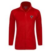 Ladies Fleece Full Zip Red Jacket-Hornet Bevel L