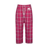 Ladies Dark Fuchsia/White Flannel Pajama Pant-Hornet