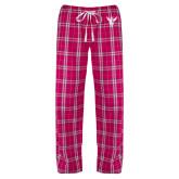 Ladies Dark Fuchsia/White Flannel Pajama Pant-Hornet Bevel L