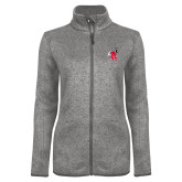 Grey Heather Ladies Fleece Jacket-Hornet