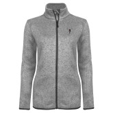 Grey Heather Ladies Fleece Jacket-Hornet Bevel L