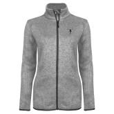 Grey Heather Ladies Fleece Jacket-Hornet Bevel L