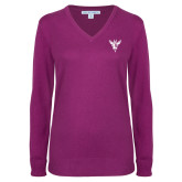 Ladies Deep Berry V Neck Sweater-Hornet Bevel L