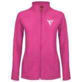 Ladies Fleece Full Zip Raspberry Jacket-Hornet Bevel L