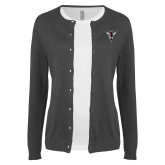 Ladies Charcoal Cardigan-Hornet Bevel L