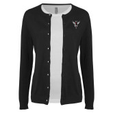 Ladies Black Cardigan-Hornet Bevel L