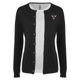 Ladies Black Cardigan-Hornet Bevel L