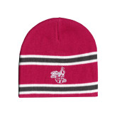 Pink/Charcoal/White Striped Knit Beanie-Hornet