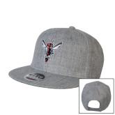 Heather Grey Wool Blend Flat Bill Snapback Hat-Hornet Bevel L