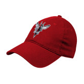 Red Twill Unstructured Low Profile Hat-Hornet Bevel L