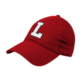 Red Twill Unstructured Low Profile Hat-L Mark