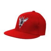 Red OttoFlex Flat Bill Pro Style Hat-Hornet Bevel L