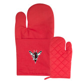 Quilted Canvas Red Oven Mitt-Hornet Bevel L