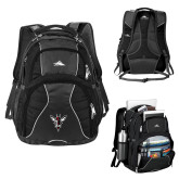 High Sierra Swerve Black Compu Backpack-Hornet Bevel L