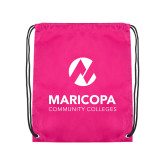 Maricopa Comm Pink Drawstring Backpack-Primary Mark Stacked