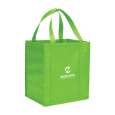 Maricopa Comm Non Woven Lime Green Grocery Tote-Primary Mark Stacked