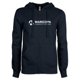 Maricopa Comm ENZA Ladies Navy Fleece Full Zip Hoodie-Primary Mark