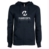 Maricopa Comm ENZA Ladies Navy Fleece Full Zip Hoodie-Primary Mark Stacked