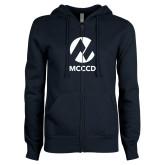 Maricopa Comm ENZA Ladies Navy Fleece Full Zip Hoodie-Acronym
