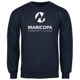 Maricopa Comm Navy Fleece Crew-Primary Mark Stacked