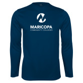 Maricopa Comm Syntrel Performance Navy Longsleeve Shirt-Primary Mark Stacked