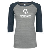 Maricopa Comm ENZA Ladies Athletic Heather/Navy Vintage Baseball Tee-Primary Mark Stacked