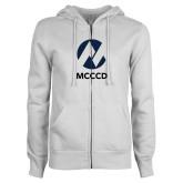 Maricopa Comm ENZA Ladies White Fleece Full Zip Hoodie-Acronym