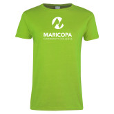 Maricopa Comm Ladies Lime Green T Shirt-Primary Mark Stacked