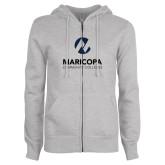 Maricopa Comm ENZA Ladies Grey Fleece Full Zip Hoodie-Primary Mark Stacked