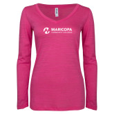 Maricopa Comm ENZA Ladies Hot Pink Long Sleeve V Neck Tee-Primary Mark