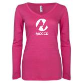Maricopa Comm ENZA Ladies Hot Pink Long Sleeve V Neck Tee-Acronym