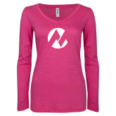 Maricopa Comm ENZA Ladies Hot Pink Long Sleeve V Neck Tee-Icon