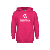 Maricopa Comm Youth Raspberry Fleece Hoodie-Primary Mark Stacked