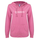 Maricopa Comm ENZA Ladies Hot Pink V Notch Raw Edge Fleece Hoodie-Primary Mark