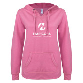 Maricopa Comm ENZA Ladies Hot Pink V Notch Raw Edge Fleece Hoodie-Primary Mark Stacked