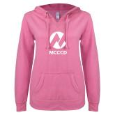 Maricopa Comm ENZA Ladies Hot Pink V Notch Raw Edge Fleece Hoodie-Acronym