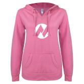Maricopa Comm ENZA Ladies Hot Pink V Notch Raw Edge Fleece Hoodie-Icon