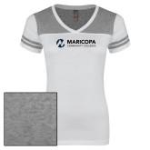 Maricopa Comm Ladies White/Heathered Grey Juniors Varsity V Neck Tee-Primary Mark