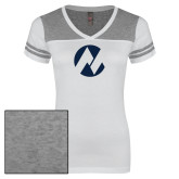 Maricopa Comm Ladies White/Heathered Grey Juniors Varsity V Neck Tee-Icon