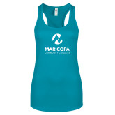 Maricopa Comm Next Level Ladies Tahiti Blue Ideal Racerback Tank-Primary Mark Stacked