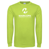 Maricopa Comm Lime Green Long Sleeve T Shirt-Primary Mark Stacked